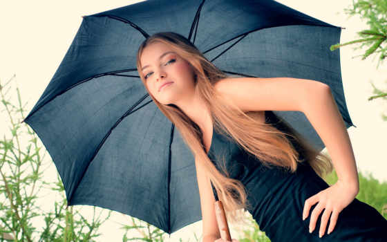 зонтик, девушка, blonde, avec, parapluie, fonds, ecran, платье,