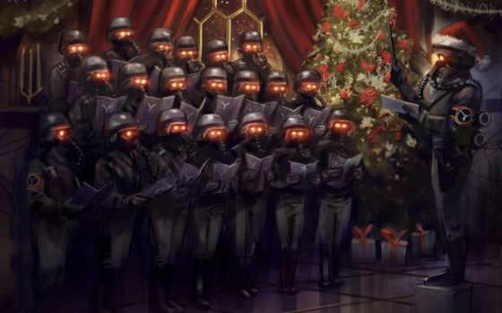 killzone, christmas, игры, маски, елка, обою,