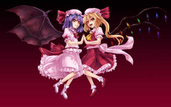 scarlet, touhou, flandre, hair, remilia, ½project, vampire, аниме, tags, blonde, purple, red, girls,