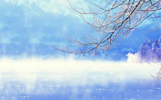 zima, река, priroda