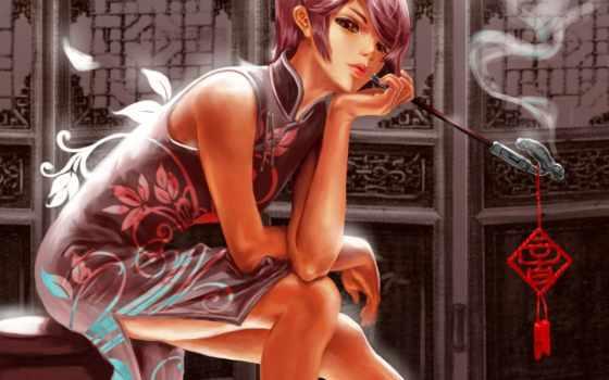 курит, девушка, anime, трубка, ретро, табурет, devushki,