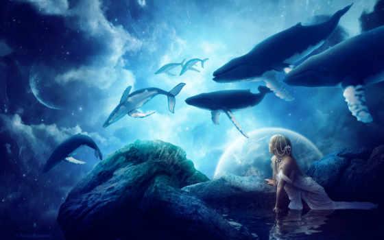 кит, киты, небе, небо, городом, fantasy, фантастические, со,