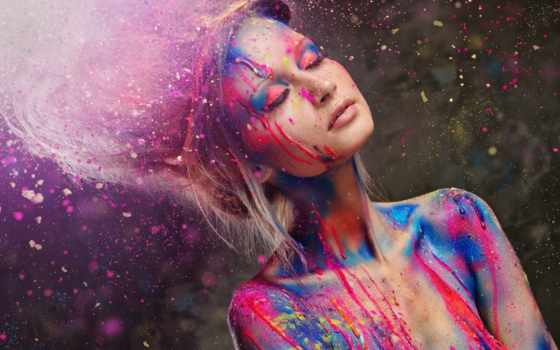 девушка, краски, краска, стиль, брызгах, красивая, свет, закрытые,