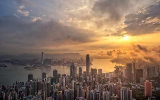 мегаполис, hong, kong, небоскрёб, skyline