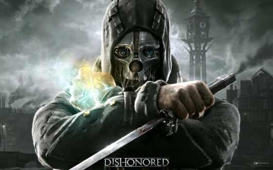 маска, корво, dishonor, game, кинжал, bodyguard, assassin, bethesda, под, ассасина, дождь