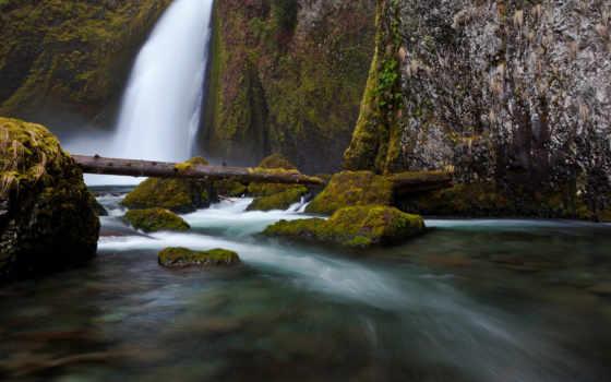 водопад, камни