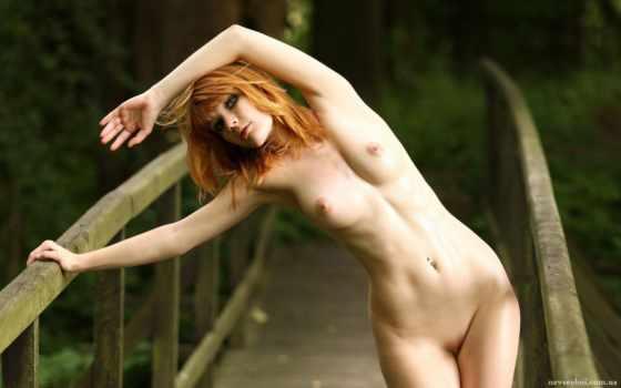 девушка, эротика, red, модель, рыжеволосая, мосту, mia, sollis,