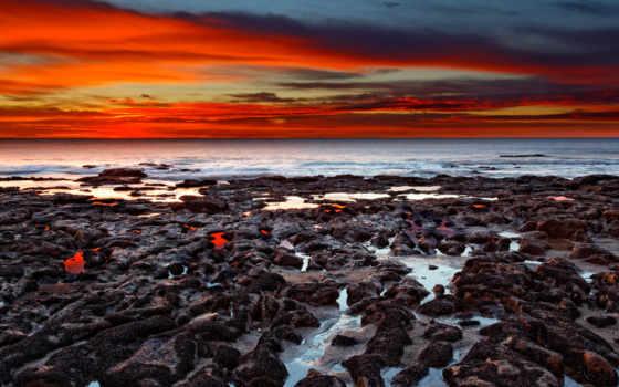 закат, ocean, magnificent, desktop, природа, free, rocks,