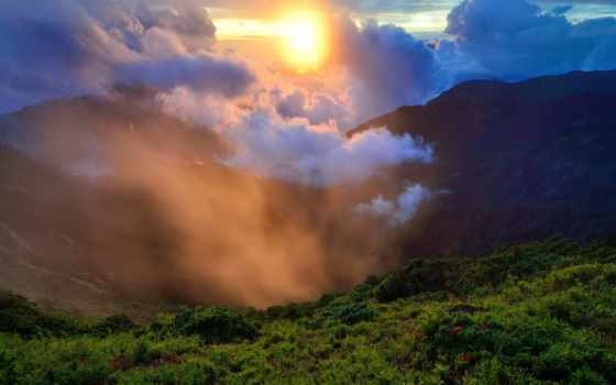 sun, туман, природа, утро, трава, холмы, зелёный,