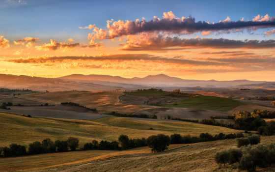 tuscany, italy, закат, поле, summer, clouds, август, pin,