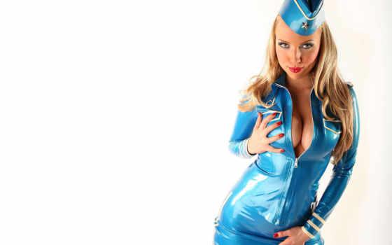 стюардесса, life, стюардессы, большой, девушка, наклоняется, грудью, глубоким, декольте, стюардесс, what,