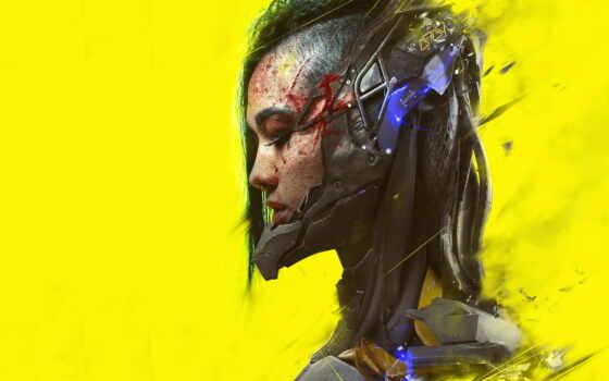 cyberpunk, арта, девушка, yellow, прохождение, тематика