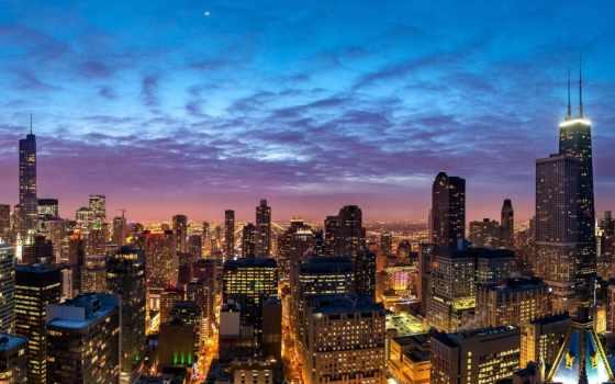 ночь, город, chicago, здания, панорама, небоскребы,