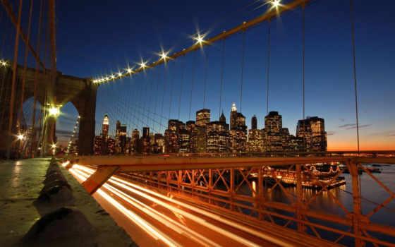 мост, бруклин, ночь, new, desktop, york, город,