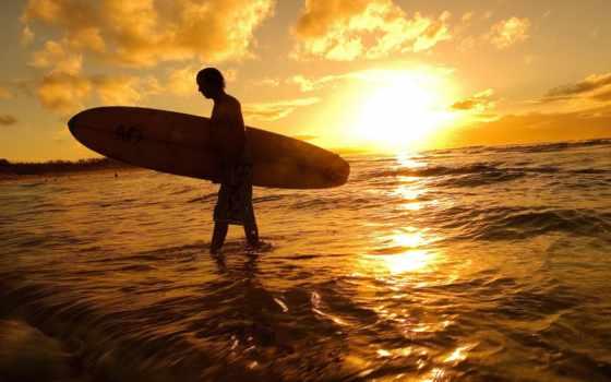 закат, море, сёрфинг