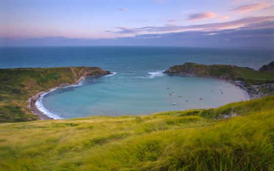 bay, море, небо, берег, трава, distance, горы, лодки,