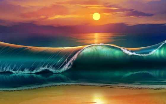 закат, пляж, море, waves, картинка, art, photoshop, волна, sun, красиво, небо,