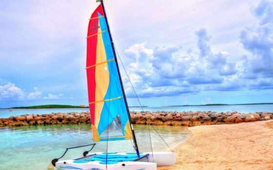 пляж, лодка, отдых