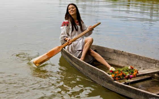 девушка, лодка, лодке, река, улыбка, взгляд, озеро,