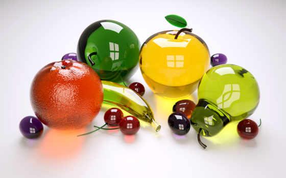 фрукты, glass, яблоки, стеклянные, бананы, апельсины, сливы, груши, черешню,