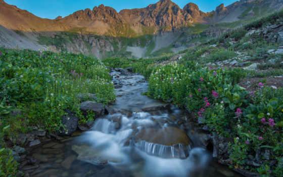 горы, природа, cvety, утро, небо, закат, ручей,