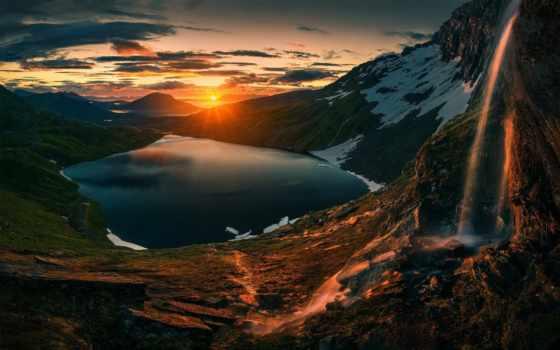 озеро, гора, landscape, sun, fore, home