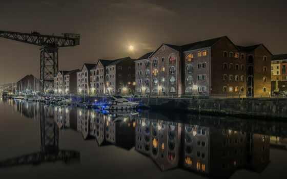 склад, шотландия, док, crane, лодка, сахар, вт, architecture, hamilton, james