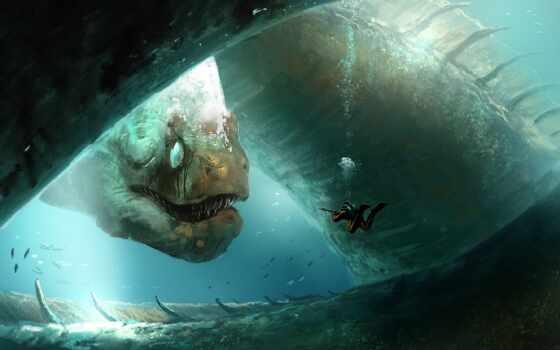 monster, water, underwater, аквалангист, под, detect, огромный, ava