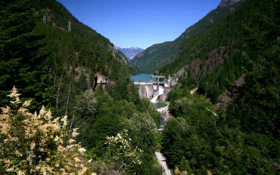 mountains, dam