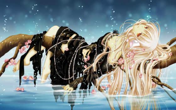 красивые аниме картинки, девушка, лежит на дереве, девушка над водой