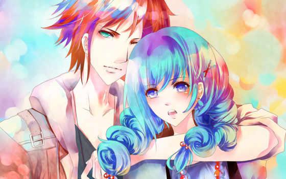 anime, девушка, art, парень, синие, волосы, ame, aiki, пара,