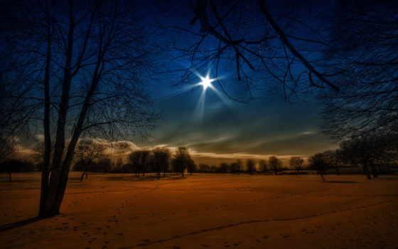 ночь, winter, снег