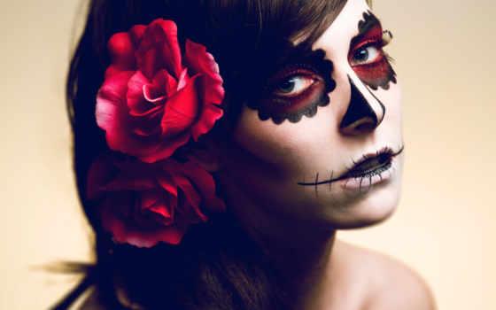 halloween, макияж, девушек