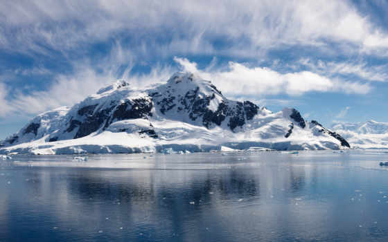 море, снег, горы