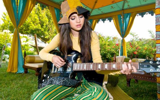 selena, gomez, guitarra