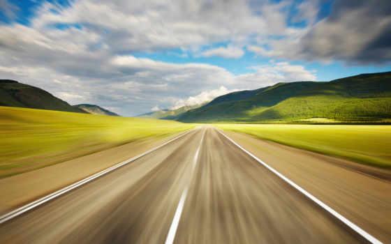 дорога, скорость, разметка, небо, скоростная, горы, landscape, oblaka,