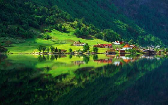 природа, лес, озеро, зелёный, деревня, summer, дома,
