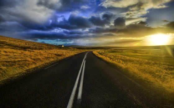 закат, дорога, route, highway, небо, sun, поле, море, ночь, пейзажи -, oblaka,