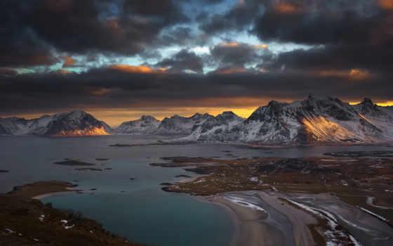 горы, красивые, fone, неба, закат, тучи, обитель, снегу, облачного, снег,