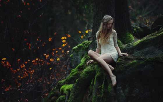 photos, девушка, flickr, bara, her, vavrova, листь, природа, лес,