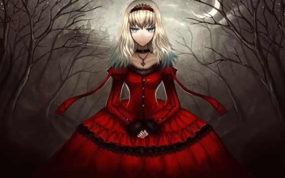anime, платье, девушка, red, скромность, ночь, красное, чудес, алиса, стране,