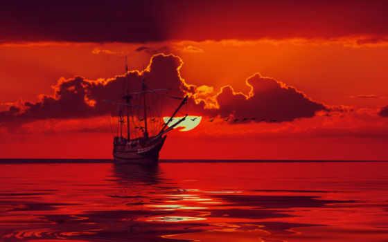 rouge, fonds, ciel, ecran, soleil, voile, navire, nuage, fond,