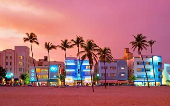 пляж, miami, ocean, драйв, улица, south, house