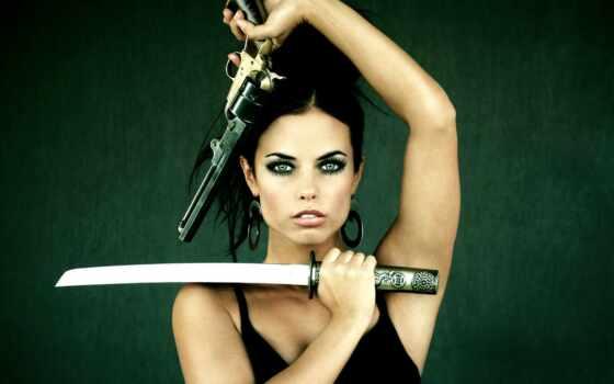 девушки, оружием, девушка