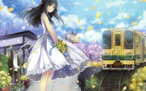 anime, девушка, цветы