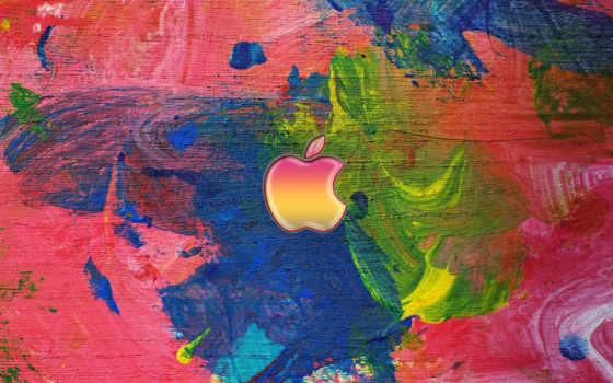 эпл оранжево-розовый на фоне абстрактной картины