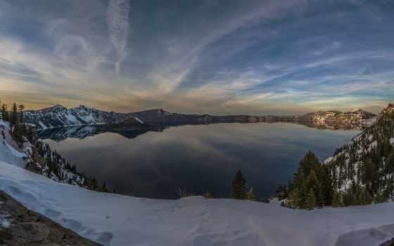 озеро, crater, закат, winter, фото, coastline,