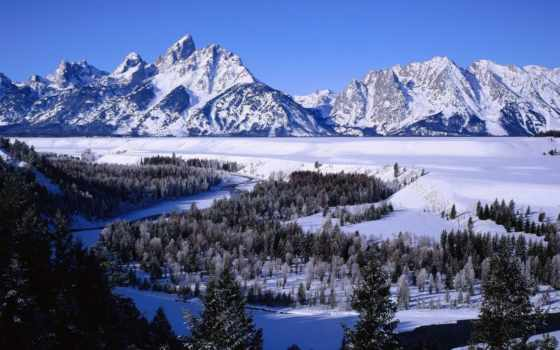 горы, природа, national, park, река, teton, grand, схемки, ejkova, красивые,