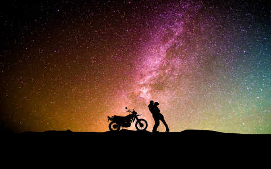 ночь, мотоцикл, небо, пара, силуэты, love, stock, pair,