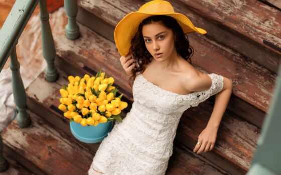 pazlyi, девушка, шляпа, тюльпан, yellow, платье, leg, собрать, kakulia
